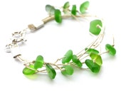 Genuine Green Sea Glass hemp bracelet