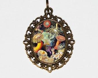 Sea Anemone Necklace, Ocean Jewelry, Oval Pendant