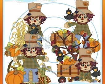 Fall Scarecrow Boys 2 Clipart (Digital Download)