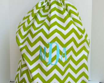 Large Green Chevron  Laundry Bag Tote College Dorm Summer Camp Duffle Bag with Shoulder Strap Monogrammed