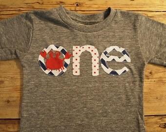 Crab shirt crab party Shirt Nautical Theme Birthday Shirt chevron Tee on Organic blend birthday shirt customize first birthday etc
