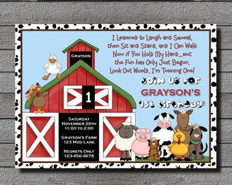 Barnyard 1st Birthday or Any Age With or Without Photo Digital File or Add 5x7 Prints Front & Back