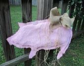 Pig Silhouette Burlap Door Hanger in Pink