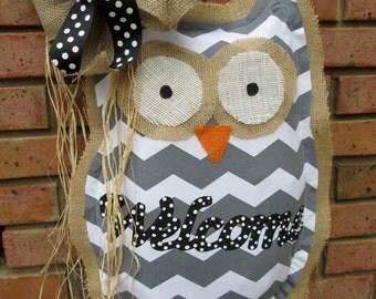 Owl Burlap Door Hanger Chevron Pattern Welcome