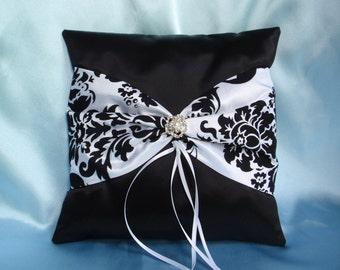 Black White Damask Square Satin Ring Bearer Pillow Bow Rhinestone Pearl Wedding Bridal