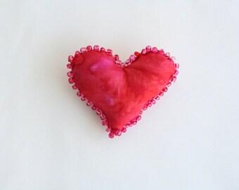 Beaded Fiber Art Heart Pin