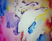 Watercolor Dancer, Ballet Print, Art Print, Prints, Ballerina