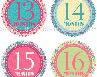2nd Year Baby Girl Monthly Stickers Blue Pink Green Yellow Floral Flower Dots - 13-24 Months Nice Shower Gift