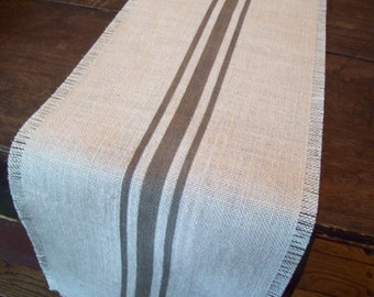 Burlap Table Runner 12 x 60 - 14 x 60 - 16 x 60 with Hand Painted Grey Grain Sack Style Stripes
