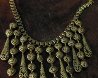 Art Deco Brass Book Chain Egyptian Revival Filigree Pendants