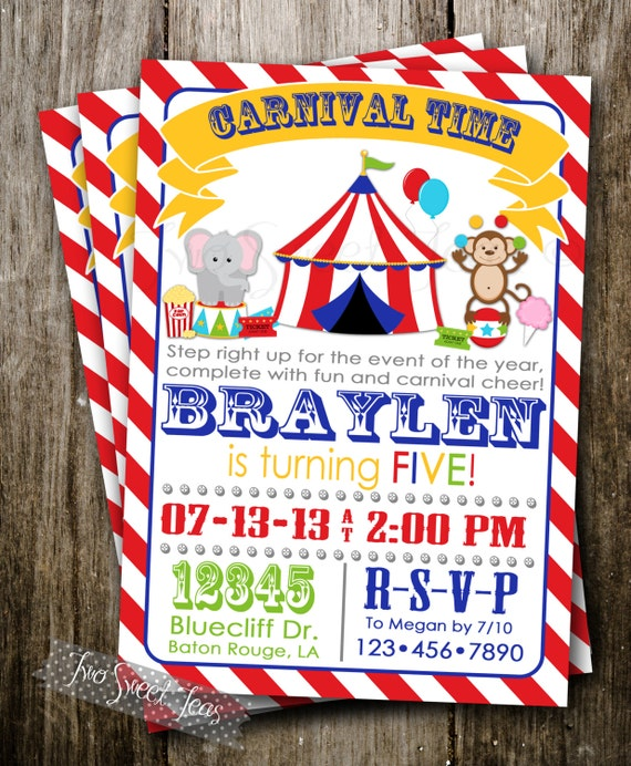Carnival Invitation Circus Fair Elephant Monkey Games Big Top Modern Vintage Digital Printable DIY