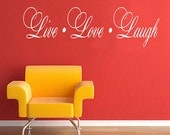 Live Laugh Love - wall art quote maxim design vinyl wall sticker decals home decor mural for living room or bedroom WS0043