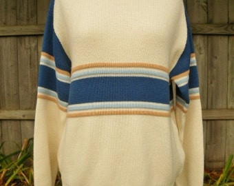 vintage 70s Jersild stripe ski sweater m l natural blue stripe ski lodge wear  made in usa neenah wi