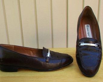 vintage 80s etienne aigner brown leather loafers shoes flats 7m preppy secretary