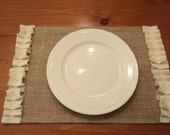 Six Natural Burlap Placemats with Ivory Ruffles