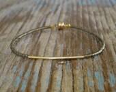 Delicate Tiny Matt Opaque Frosted bronze & Small Gold Bar Friendship Bracelet