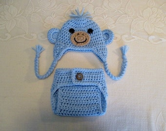 Baby Blue Baby Monkey Crochet Hat and Diaper Cover - Photo Prop - Available in Newborn to 24 Months Size - Any Color Combination