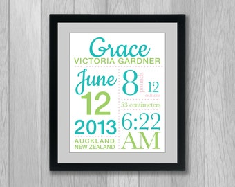 Script Baby Birth Stats Announcement Poster: You choose the colors - 11x14 inches Nursery Wall Art