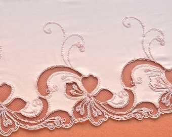 Pink Champagne Ruffely Floral Satin Trim, Embroidered, Pink Champagne Slips, Wedding Dress, Lingerie Fabric
