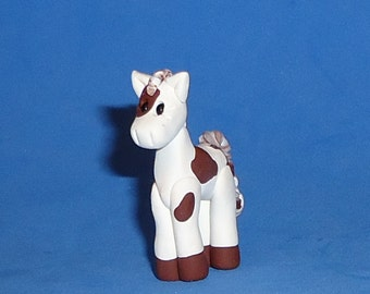 Polymer clay Little Brown and White Paint Horse