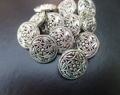 "Silver Scroll Shank Buttons Floral 18mm,11/16"" -12 pieces"