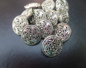 "Shank Buttons Silver Scroll Floral 18mm,11/16"" -19 pieces"