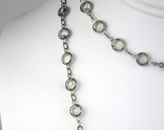 Long Necklace - Antiqued Silver & Smoky Gray Crystals