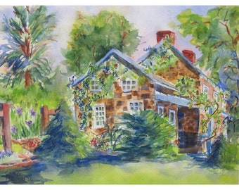 Willowwood Stone Cottage in New Jersey - an Original Watercolor