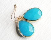 1067 Blue dangle earrings, bezel stone earrings, matte gold earrings,