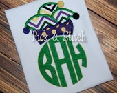 Mardi Gras Jester Hat Monogram Topper Applique Design Machine Embroidery INSTANT DOWNLOAD