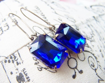 Sapphire Blue Rhinestone Earrings Patina Brass Settings