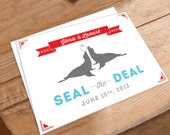 Save the Date Wedding Invitation - Seal the Deal, animals, seals, circus, zoo, clever, red, blue, quirky, funky, fun design