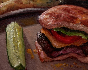 Cheeseburger, Pickle, and Fries Oil Painting