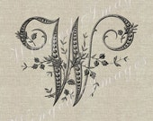 Antique French Monogram Letter W Instant Download Digital Image No.243 Iron-On Transfer to Fabric (burlap, linen) Paper Prints (cards, tags)