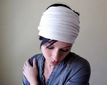 IVORY Head Scarf - Womens Hair Wrap - Ribbed Knit Ear Warmer - Sweater Knit Hair Accessory - Off White Thick Headband - Bohemian Hair Wrap