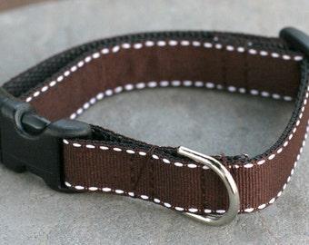 "Ready to Ship - 5/8"" Dog Collar Small - Dark Chocolate with Vanilla Dashes"