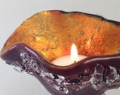 Fused  Dichroic  Glass Tea Light Candle Holder Carnelian Red with  Crystals Small Dish 017
