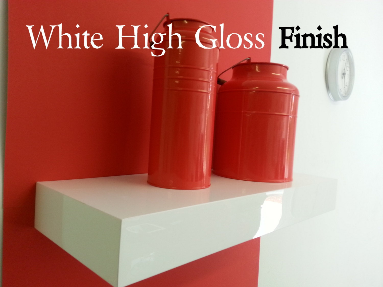 24 long floating white shelves high gloss set of 3 by. Black Bedroom Furniture Sets. Home Design Ideas