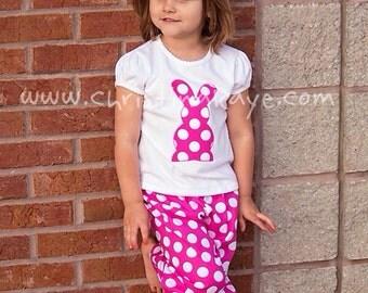 Easter Girls pink polka dot bunny pajamas
