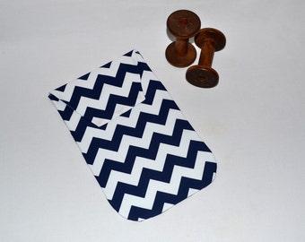 Chevron Diaper Clutch - Baby Diaper Holder Navy Blue Chevron