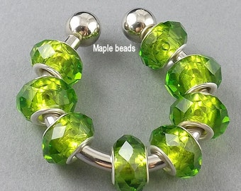 8pcs-Facted Olive green Glass European style beads for Charm bracelet/necklace