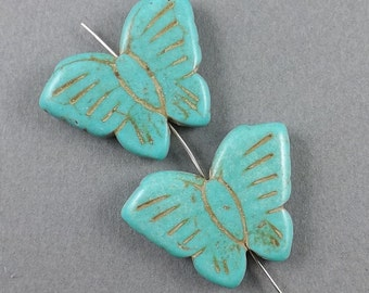 4pcs-Butterfly gemstone charm-carved Turquoise gemstone Earring beads,8g, 25mmx15mm