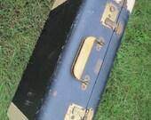 Vintage 1960s Joy Luggage - Navy Blue Hard Side Suitcase - Travel