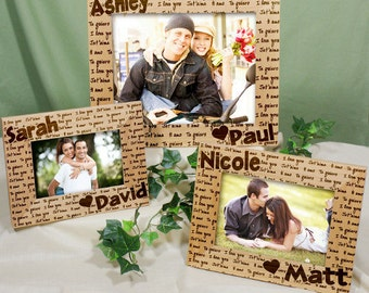 I Love You Personalized Wood Picture Frame, photo frame, engraved picture frame, personalized picture frame, couples gift -gfy911541