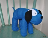 Solid Bright Blue Sock Dog with Black Ears and White Eye Patch