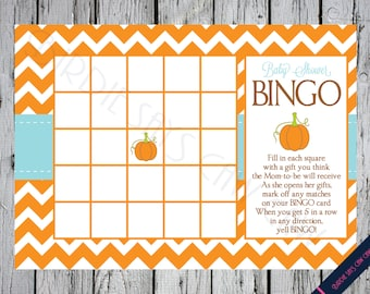 INSTANT DOWNLOAD** Little Pumpkin Printable Baby Shower BINGO Party Game