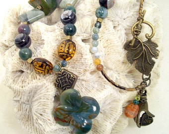 Carved jasper flower, semi-precious stone nuggets, autumnal colors and glass ladybugs, bronze tone necklace, Boho, rustic: Ladybugs at Home