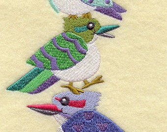 Laughing Kookaburra Bird Stack Embroidered Flour Sack Hand/Dish Towel