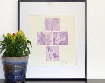 Original Etching Print FLOWERS & LEAVES Garden Aquatint Printmaking Fine Art Shabby Home Decor Print Botanical Engraving 10x10