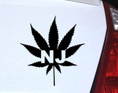 New Jersey Pot Leaf Decal for Laptop, Car